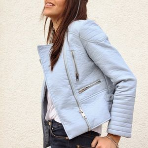 ZARA BABY BLUE LEATHER MOTO JACKET